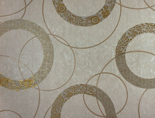 Papel de Parede Moda Em Casa Bege Claro com Círculos Areia e Glitter - 7192