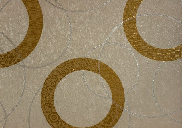 Papel de Parede Moda Em Casa Bege com Círculos Dourado e Glitter - 7193