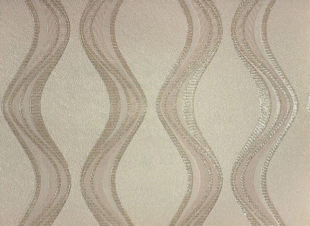 Papel de Parede Moda Em Casa Areia com Ondas Bege e Glitter - 7061