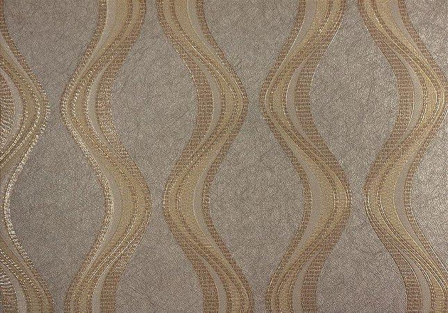 Papel de Parede Moda Em Casa Marfim com Ondas Bege e Glitter - 7068