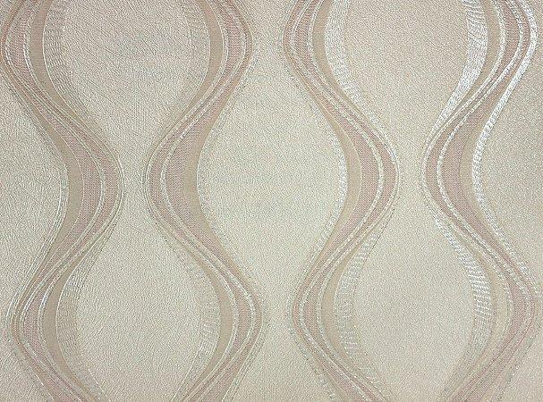 Papel de Parede Moda Em Casa Bege Claro com Ondas Marfim e Glitter - 7062
