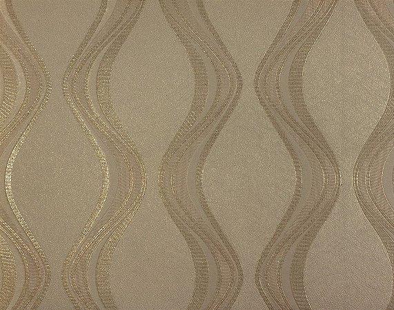 Papel de Parede Moda Em Casa Bege com Ondas Douradas e Glitter - 7063