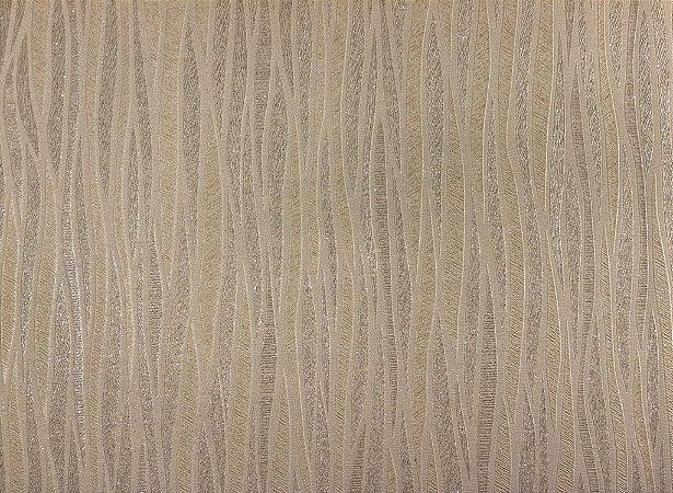 Papel de Parede Moda Em Casa Marfim com Linhas Cappuccino e Glitter - 7017