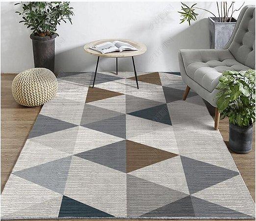 Tapete Veludo Macio Geométrico 3D Antiderrapante Cinza e Marrom 1,70 x 2,30 - V16