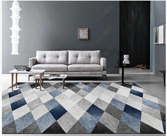 Tapete Veludo Macio Geométrico 3D Antiderrapante Azul e Cinza 0,90 x 1,30 - V21