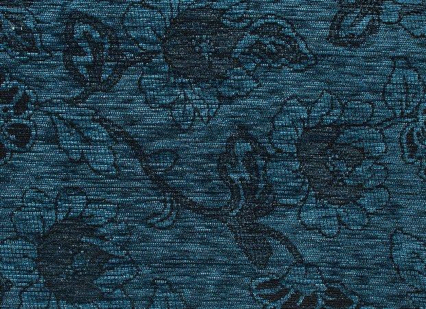 Tecido Chenille Floral Azul Petróleo - Pol 34