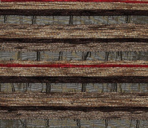 Tecido Chenille Listrado Dourado escuro, Vermelho e Marrom - Pol 36