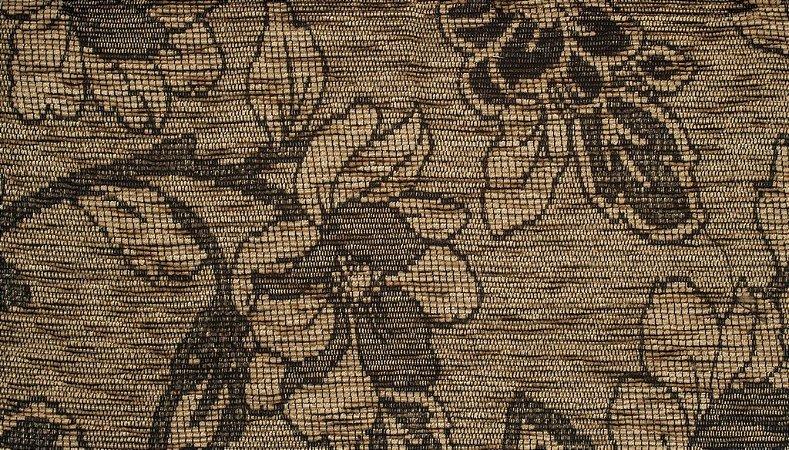 Tecido Chenille Floral Dourado escuro e Marrom - Pol 39
