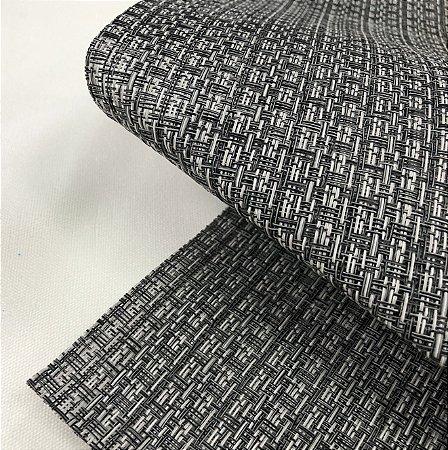 Tela Sling Estilo Palha Sintética Grossa para Cadeiras, Espreguiçadeiras, Praia e Campo Fios Preto e Cinza PVC 510