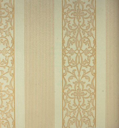 Papel de Parede Grace Clássico Listras e Gradil Dourado e Branco - GR920101
