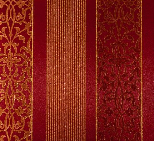 Papel de Parede Grace Clássico Listras e Gradil  Dourado e Bordô - GR920103