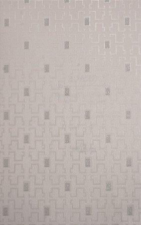Papel de Parede Grace Geométrico com Retângulos Creme e Prata - GR920901