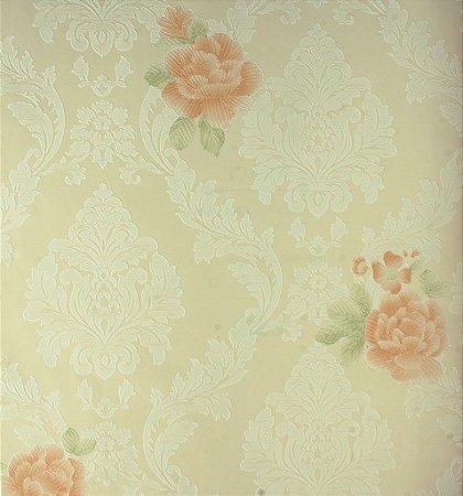 Papel de Parede Grace Medalhão Branco e Flores Salmão - GR922001