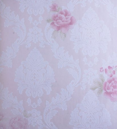 Papel de Parede Grace Medalhão Branco e Flores Rosas - GR922002