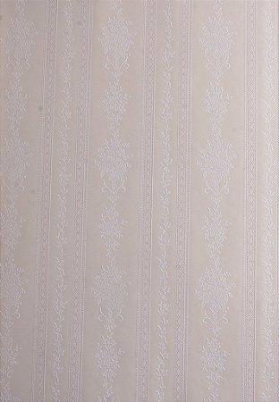 Papel de Parede Grace Listrado com Ramos Bege e Branco - GR921801