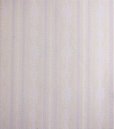 Papel de Parede Grace Listrado com Ramos Creme e Branco - GR921804