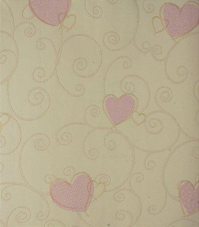 Papel de Parede Grace Infantil com Corações Rosa - GR921601