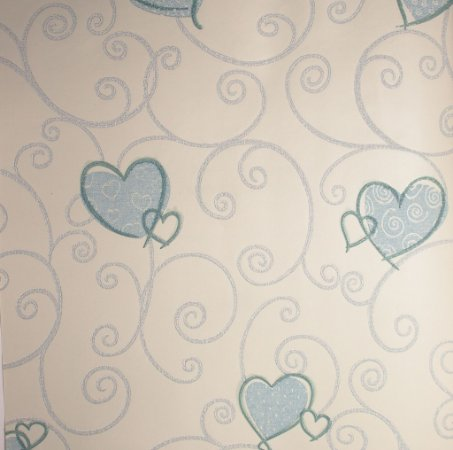 Papel de Parede Grace Infantil com Corações Azul - GR921603