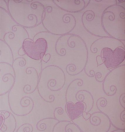 Papel de Parede Grace Infantil com Corações Rosa Bebe - GR921602