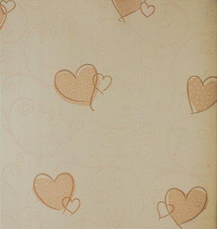 Papel de Parede Grace Infantil com Corações Rosa e Salmão - GR921604
