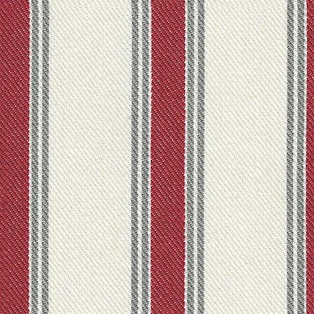 Tecido Listrado Vermelho, Cinza e Cru - Val 34