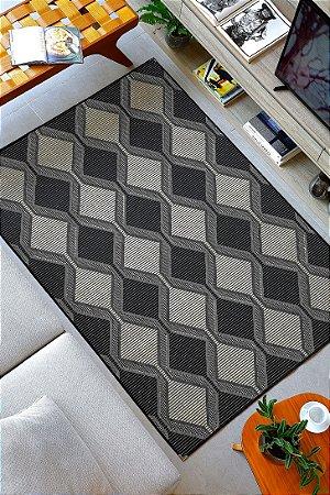 Tapete para Sala Sisal Antiderrapante com Quina de Proteção Preto Geometrico - S553 - 1,50x2,00