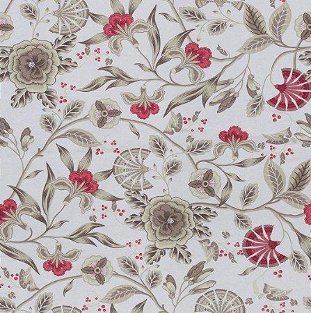 Tecido Impermeabilizado Folhas e Flores Vermelho e Bege - ASTV 111