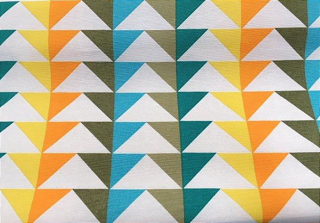 Tecido área externa Summer Triangulos Verde Branco Amarelo 205