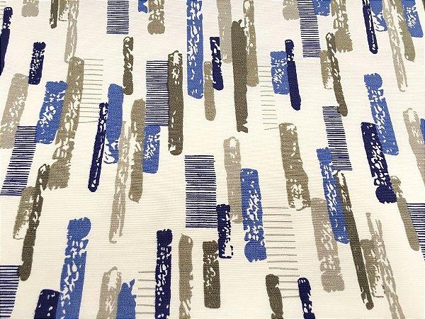 Tecido área externa Summer Abstrato Branco Azul Bege 221
