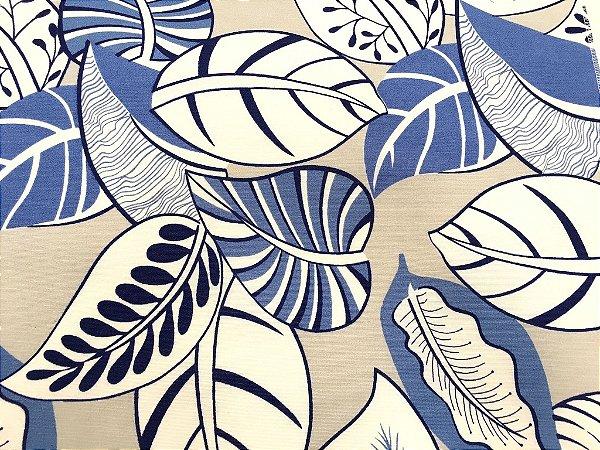 Tecido área externa Summer Floral Azul Areia Branco 225