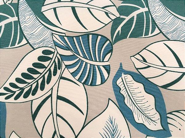 Tecido área externa Summer Floral Areia, Verde Azul 238