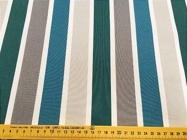 Tecido área externa Summer Linhas Azul Verde Cinza  239