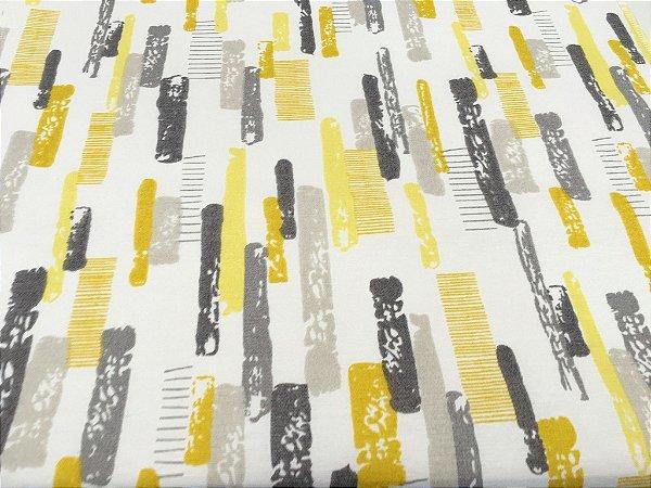 Tecido área externa Summer Abstrato Amarelo Cinza, Branco 243