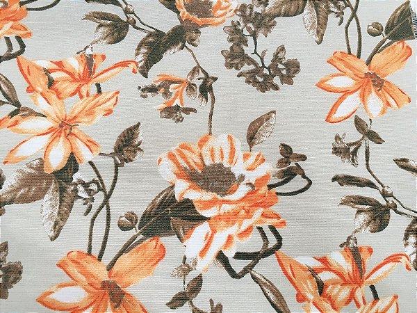 Tecido área externa Summer  Floral Laranja Bege Creme 253