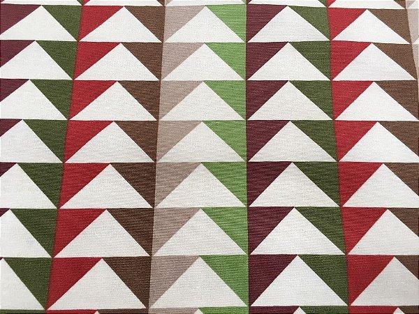 Tecido área externa Summer Triangulos Vermelho, Verde Areia 261