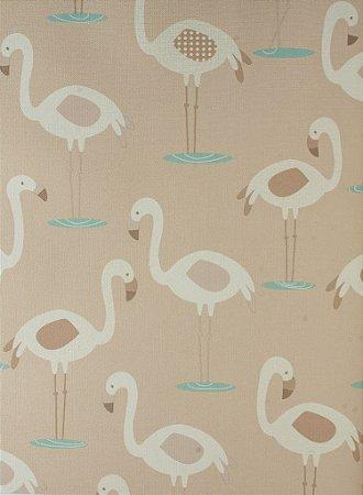 Papel de Parede Infantil Treasure Hunt - Flamingos Brancos Fundo Marrom TH-68128