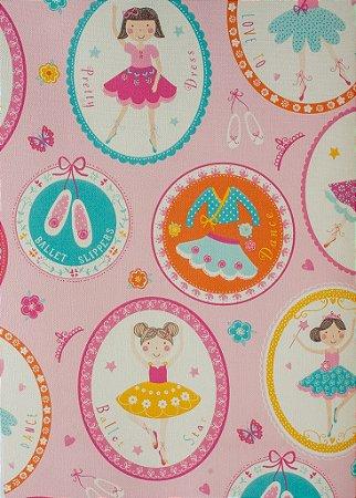 Papel de Parede Infantil Treasure Hunt - Fundo Rosa com Bailarinas em Quadrinhos TH-68121