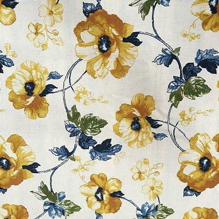 Tecido Linho Impermeabilizado Floral Mostarda, Cru e Verde - Mace 16