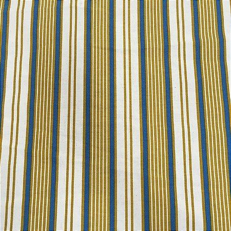Tecido Linho Impermeabilizado Listrado Mostarda, Cru e Azul - Mace 17