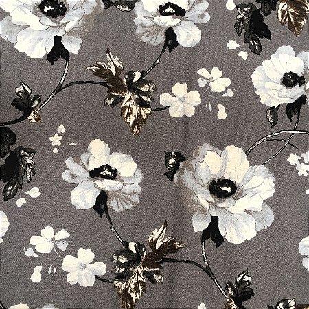 Tecido Linho Impermeabilizado Floral Cinza, Cinza Claro, Preto e Branco - Mace 27