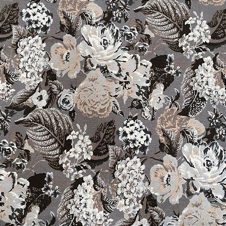Tecido Linho Impermeabilizado Floral Cinza, Marrom e Cinza Claro - Mace 30