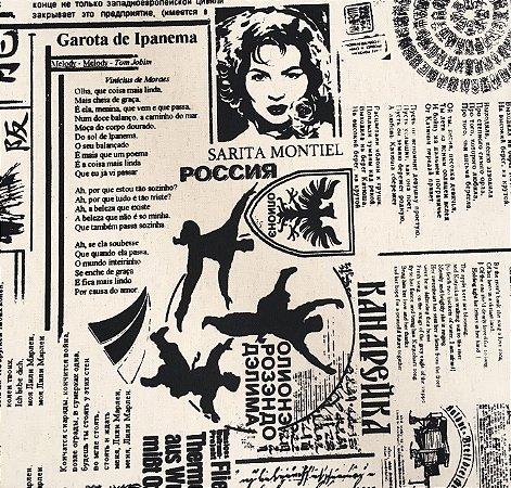 Tecido Linho Impermeabilizado Estilo Jornal Cru e Preto - Mace 32