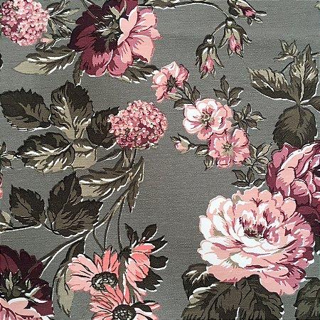 Tecido Linho Impermeabilizado Floral Fendi, Rosa e Verde - Mace 64