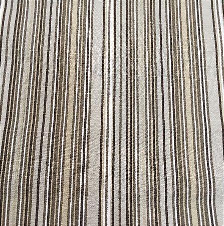 Tecido Linho Impermeabilizado Listrado Bege, Fendi e Branco - Mace 41