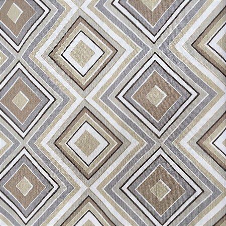 Tecido Linho Impermeabilizado Geométrico Bege, Cinza e Branco - Mace 48