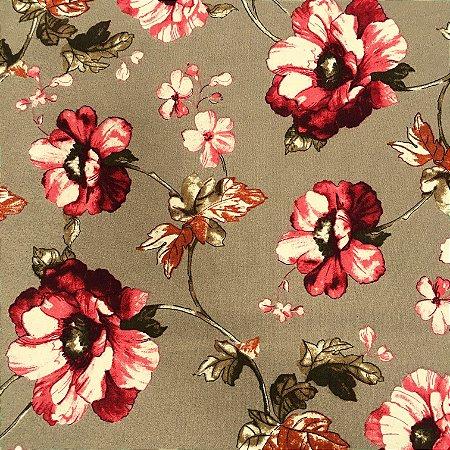 Tecido Linho Impermeabilizado Floral Cappuccino e Bordô - Mace 03