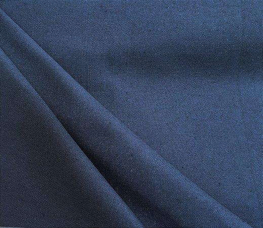 Tecido Linho Impermeabilizado Liso Azul Jeans - Mace 08