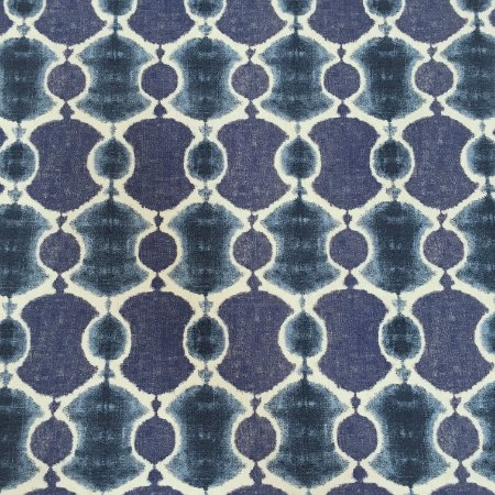 Tecido Linho Impermeabilizado Abstrato Azul e Cru - Mace 11