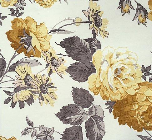 Tecido Linho Impermeabilizado Floral Cinza, Amarelo e Cru - Mace 42
