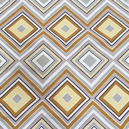 Tecido Linho Impermeabilizado Geométrico Cinza, Amarelo e Mostarda - Mace 43